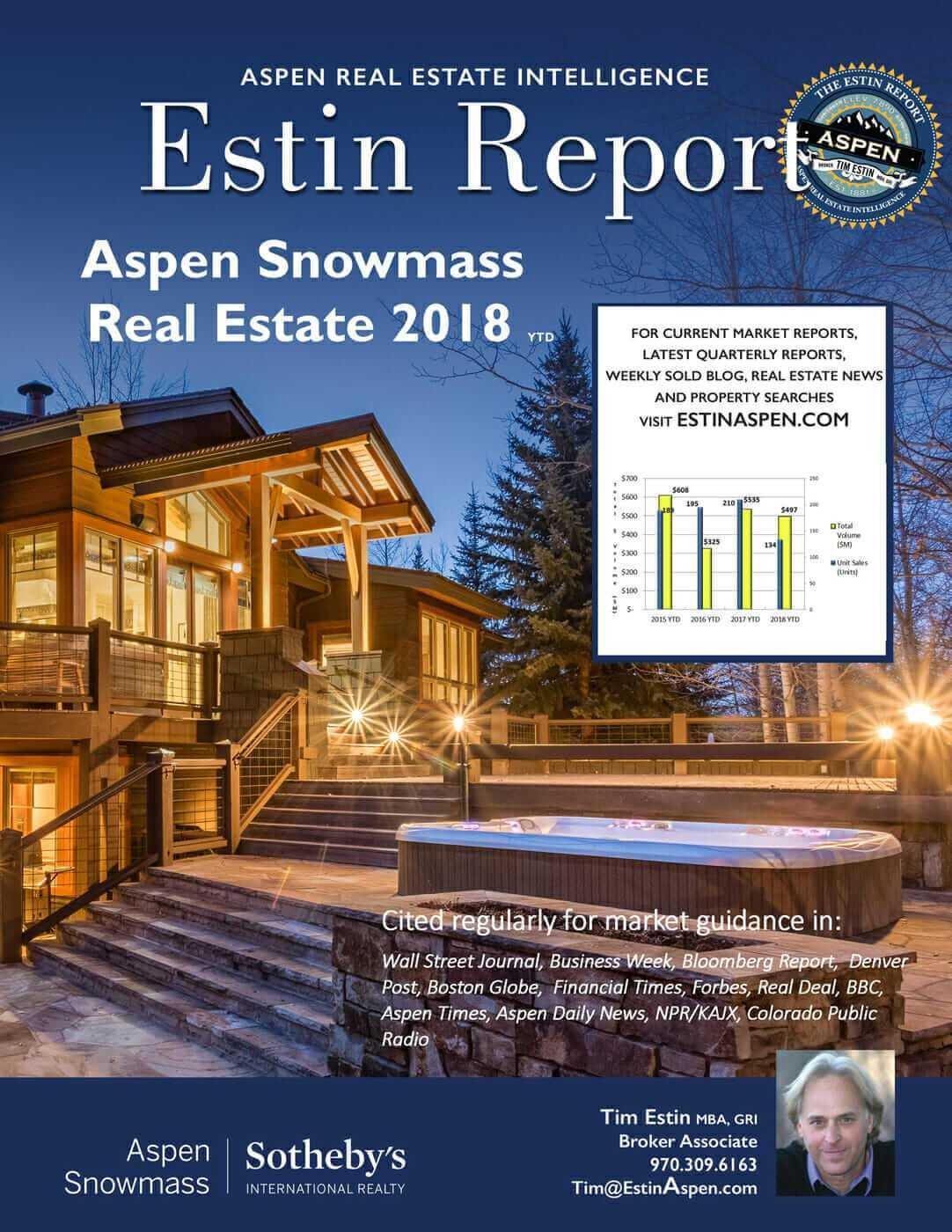 Estin Report: Aspen Snowmass Real Estate Market 2018 YTD and 2017 YR Image