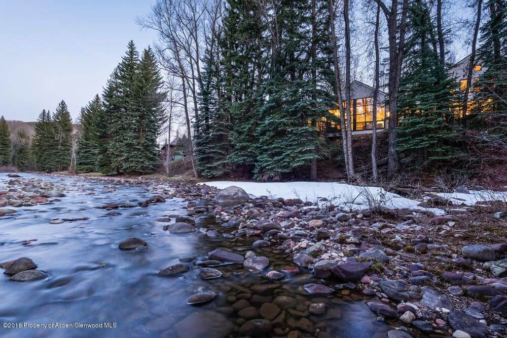 2016 Remodeled Aspen Riverfront Home at 1300 Red Butte Dr Sells for $16.5M/$2,841 SF Furn Image